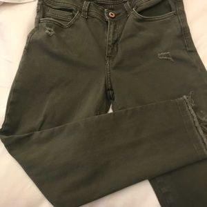 Zara olive green cropped jeans—Worn Once!!